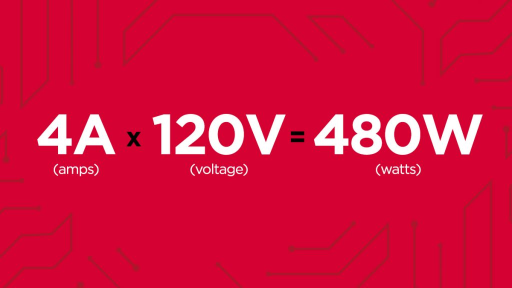 calculate watts formula, Amps x Voltage = Watts