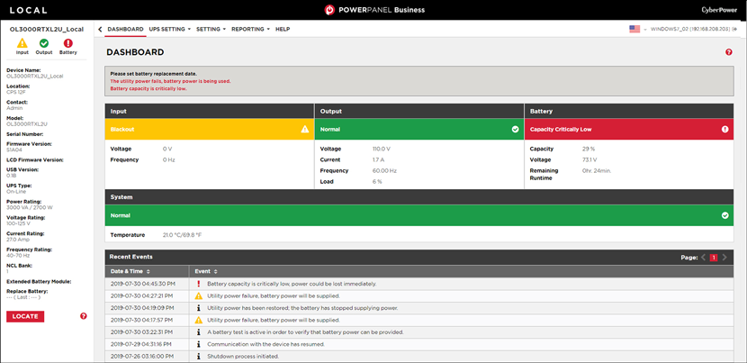 CyberPower PowerPanel® Business 4 Front Page Dashboard